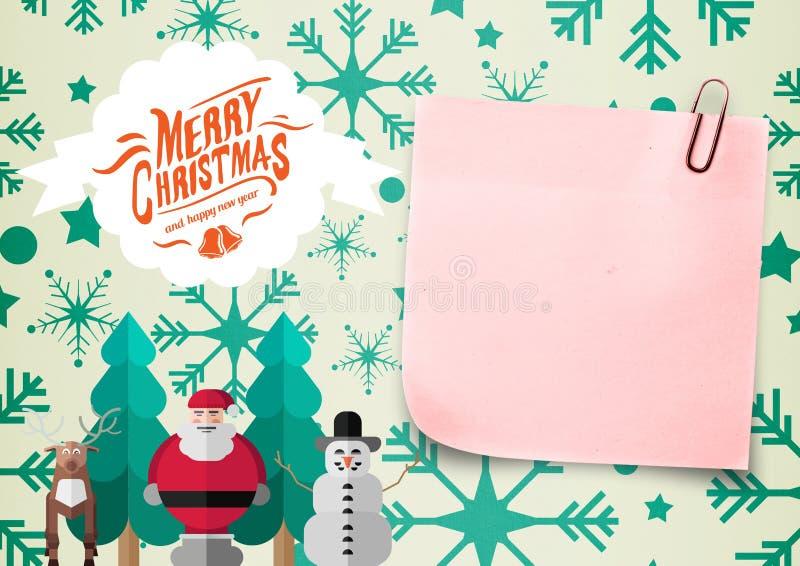 Primer de la nota 3D y del mensaje pegajosos de la Navidad stock de ilustración