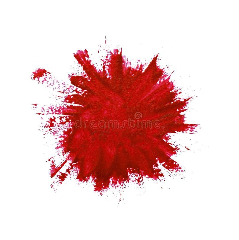 Primer de la pincelada roja de la pintura imagenes de archivo
