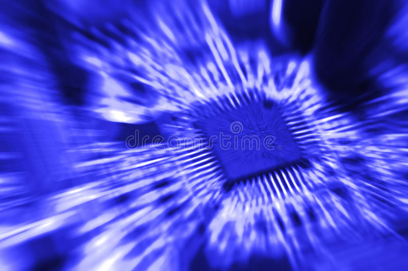 Primer de la placa de circuito electrónica con el procesador imágenes de archivo libres de regalías