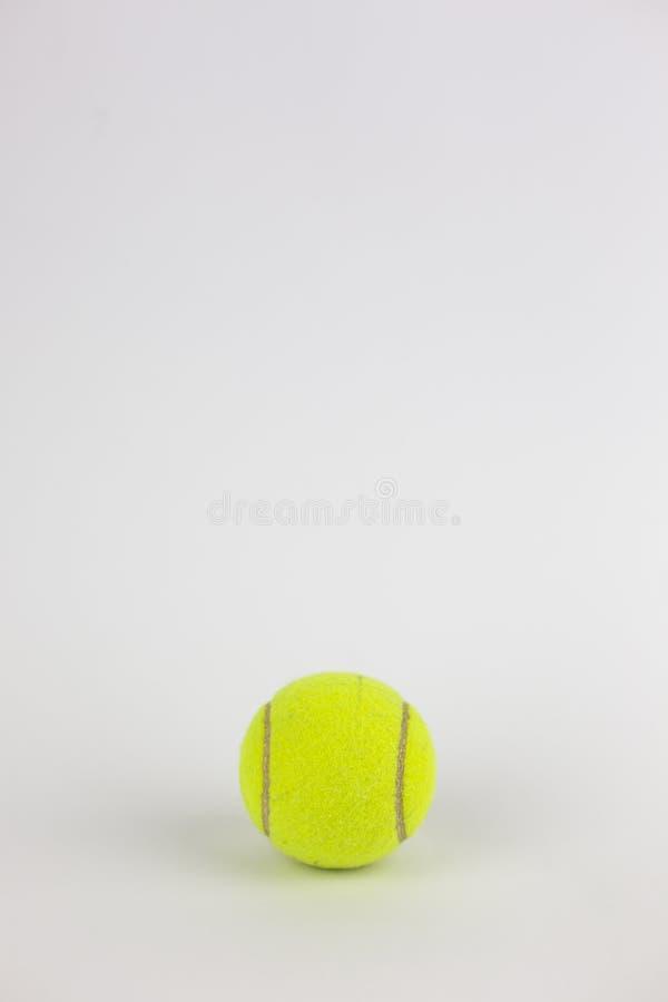 Primer de la sola pelota de tenis aislada en el fondo blanco imagen de archivo libre de regalías