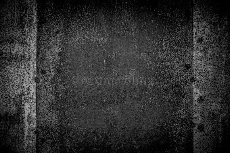 Primer de la textura blanco y negro del fondo del grunge del moho del metal Aherrumbrado, viejo, vintage, textura retra del fondo imagen de archivo