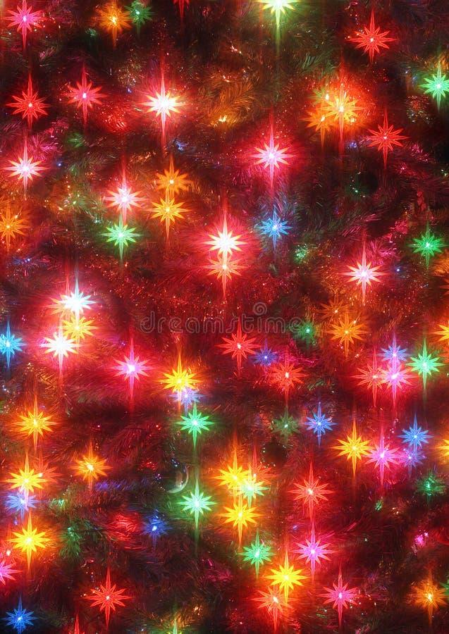 Primer de las estrellas del árbol de navidad que brilla intensamente foto de archivo libre de regalías
