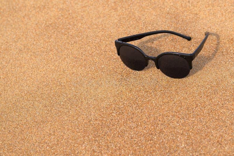 Primer de las gafas de sol en la costa arenosa imagen de archivo libre de regalías