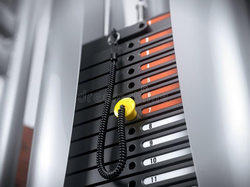 Primer de las láminas pesadas del hierro apiladas del aparato del gimnasio en gimnasio de la aptitud Placas de la máquina del pes ilustración del vector