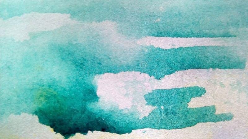 Primer de las manchas multicoloras de la acuarela en el papel Manchas blancas /negras amarillas, verdes, azules, marrones, goteos fotos de archivo