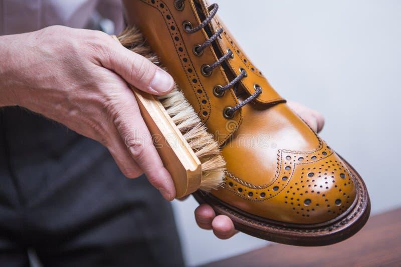 Primer de las manos masculinas con el cepillo de pulido para Tan Brogue Derby Brogues foto de archivo libre de regalías