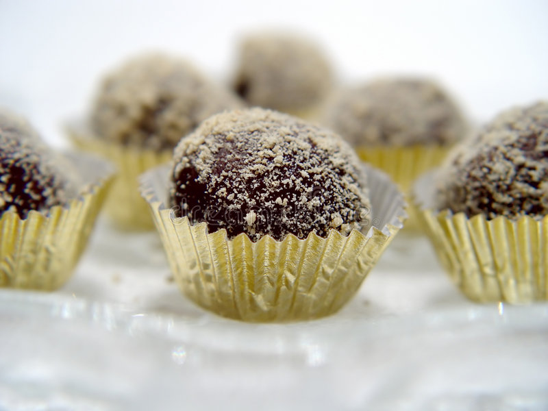 Primer De Las Trufas De Chocolate Foto de archivo