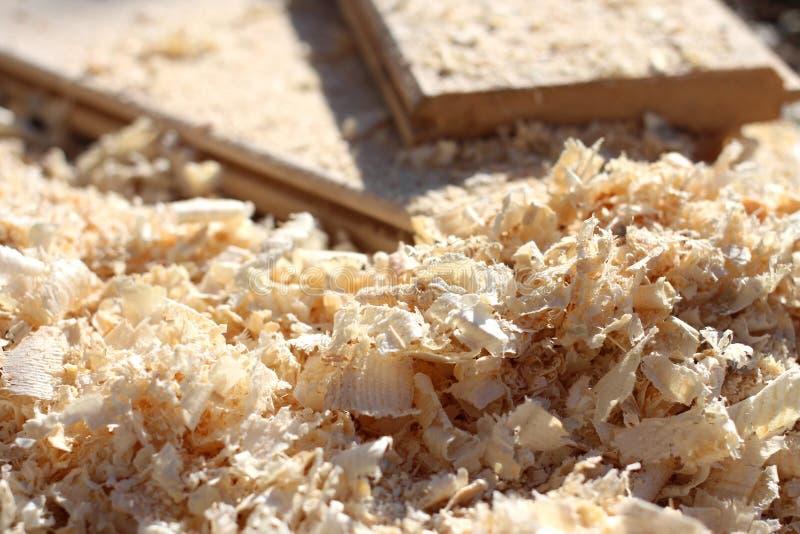 Primer de las virutas de madera del serrín y de la luz el taller de la carpintería después de procesar aserrado de la madera fotografía de archivo libre de regalías