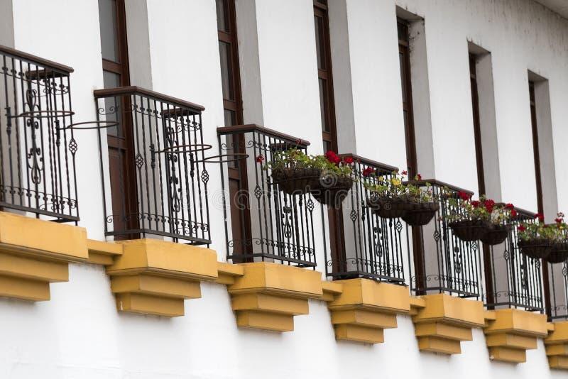 Primer de los balcones en Popayan Colombia foto de archivo