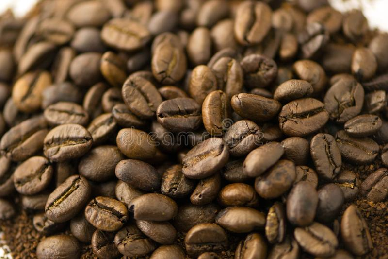 Primer de los granos de café fotos de archivo libres de regalías