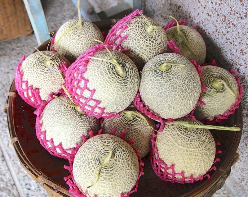 Primer de los melones en la cesta foto de archivo