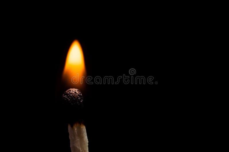 Primer de madera ardiendo del partido, en un fondo negro Tiroteo macro del aislante fotografía de archivo
