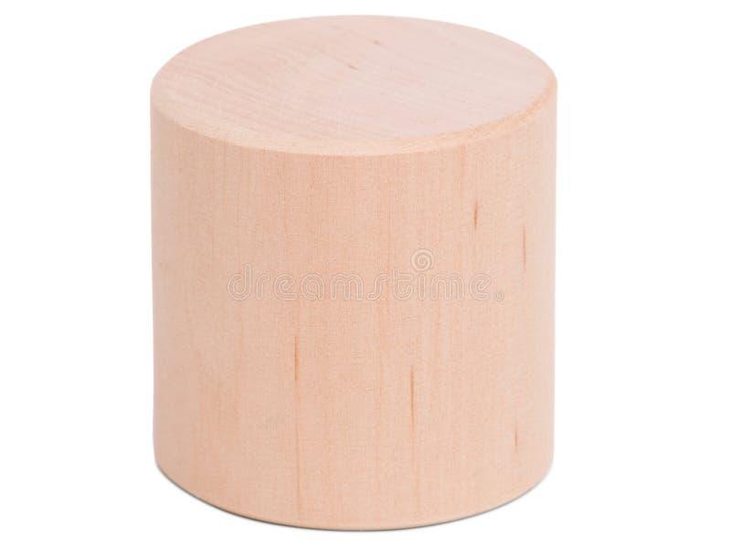 Primer de madera del cilindro en fondo aislado blanco foto de archivo