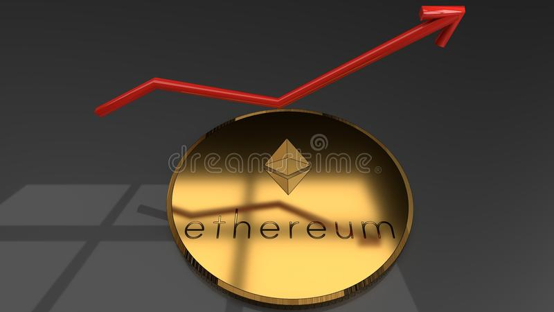 Primer de oro con un gráfico de aumento rojo, carta, flecha de la moneda del ethereum, mostrando el aumento en el interés para la ilustración del vector