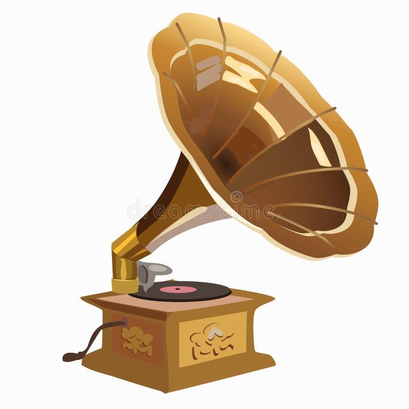 Primer de oro del gramófono del vintage stock de ilustración