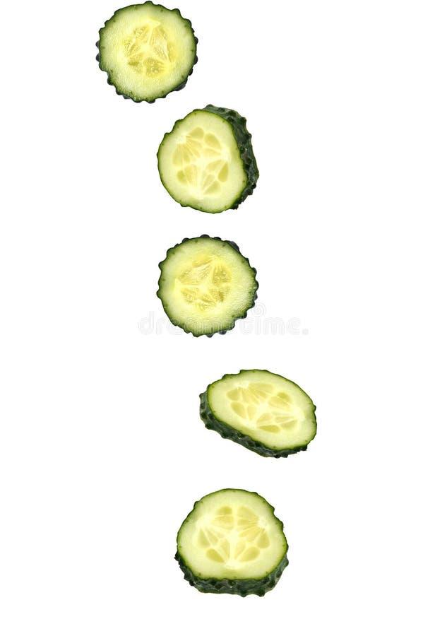 Primer de pedazos de pepino verde maduro fresco que cae abajo en el fondo blanco imagen de archivo