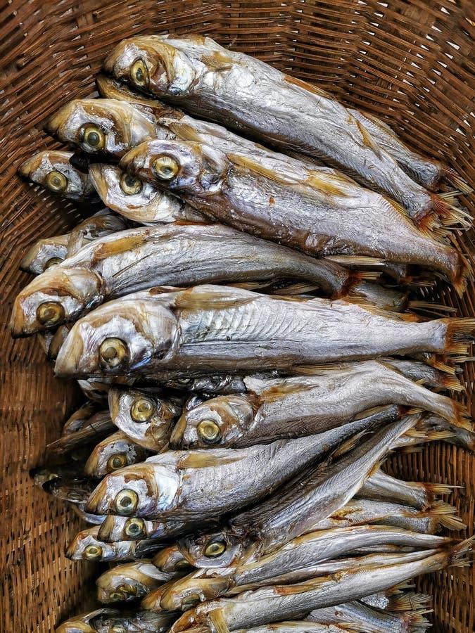 Primer de pequeños pescados secados imágenes de archivo libres de regalías