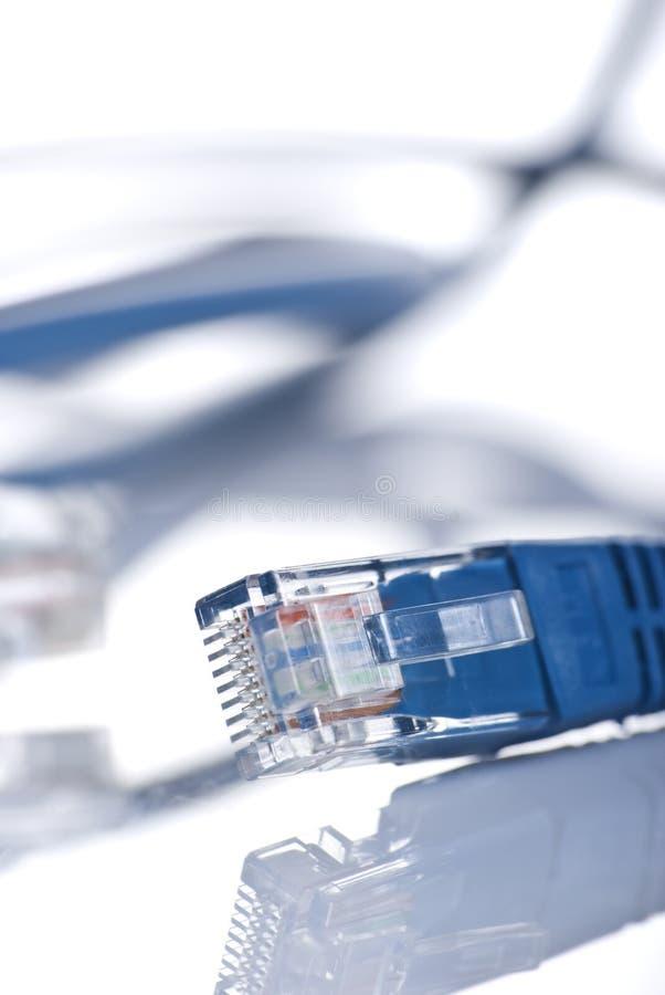 Primer de un cable de Ethernet imagen de archivo libre de regalías