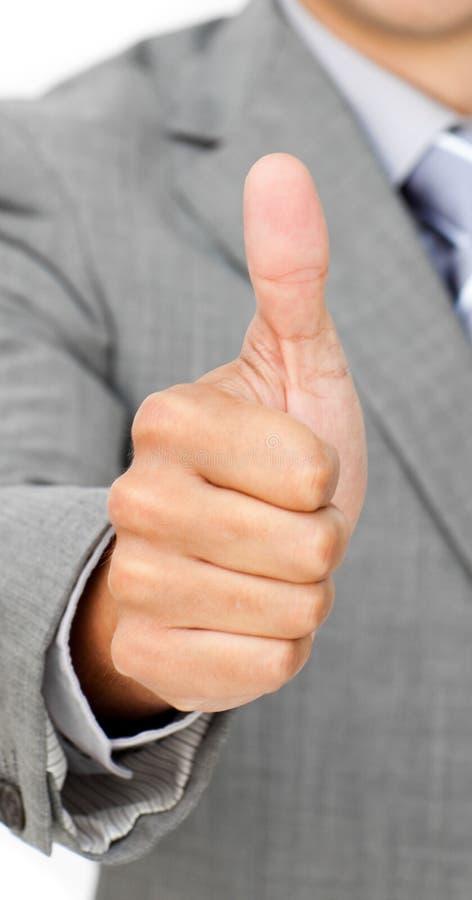 Primer de un hombre de negocios con el pulgar para arriba fotos de archivo libres de regalías