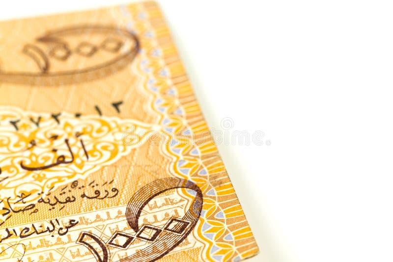 Primer de un solo anverso del billete de banco del dinar iraquí 1000 fotografía de archivo libre de regalías