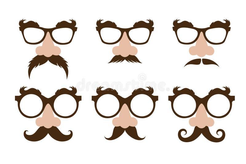 Primer de una nariz falsa y de vidrios, con el bigote y las cejas peludas stock de ilustración