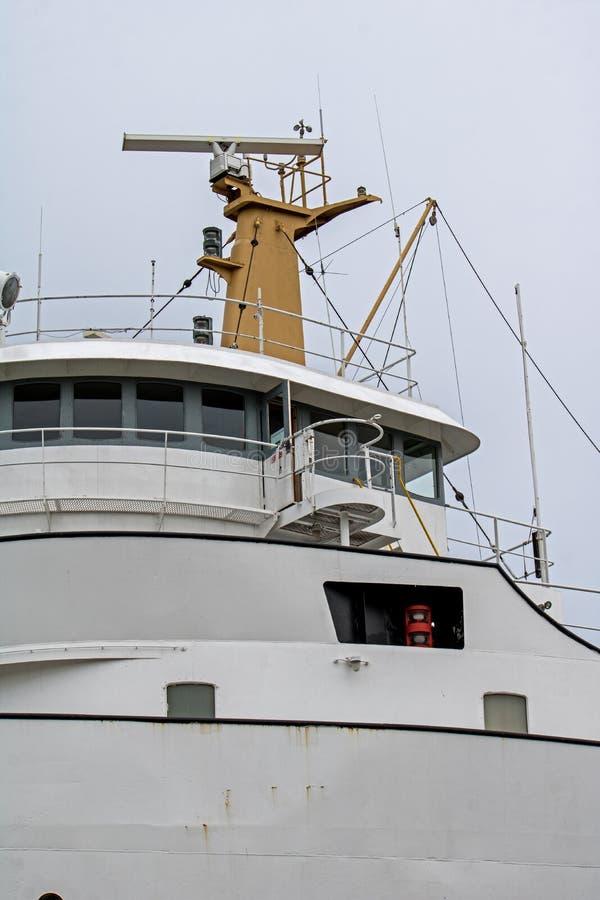 Primer de una timonera del carguero de Great Lakes fotos de archivo libres de regalías