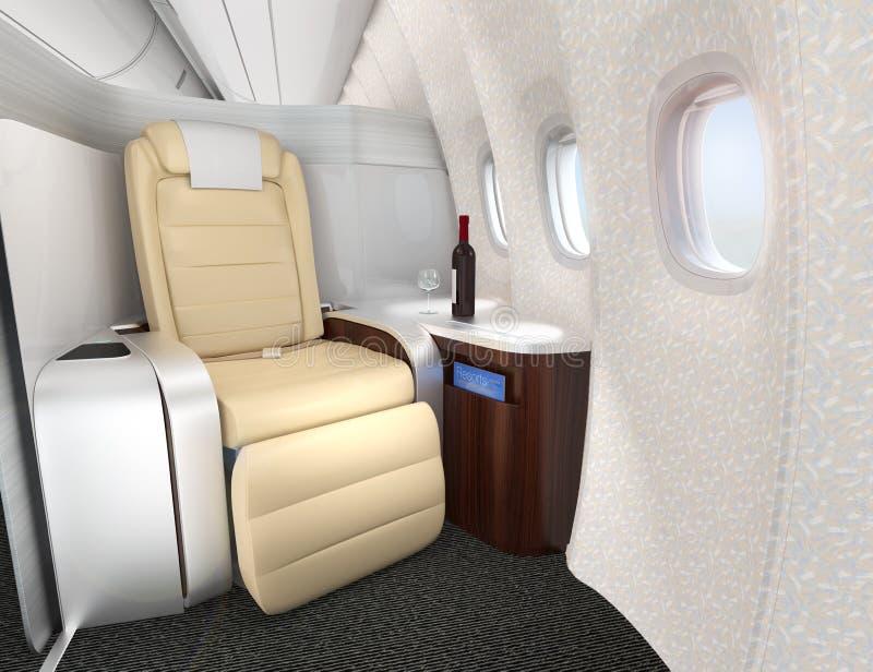 Primer del asiento lujoso de la clase de negocios con la división de la plata metalizada stock de ilustración