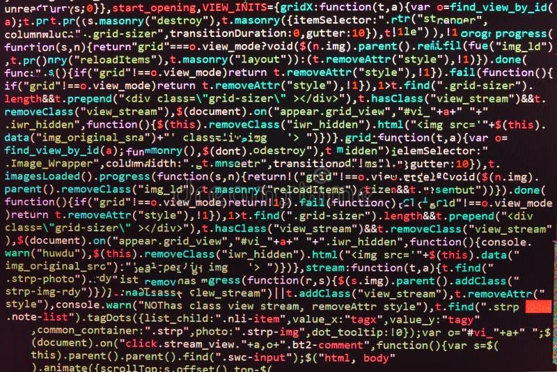 Primer del código de Java Script, del CSS y del HTML foto de archivo libre de regalías
