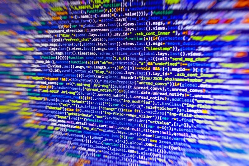 Primer del código de Java Script, del CSS y del HTML fotos de archivo