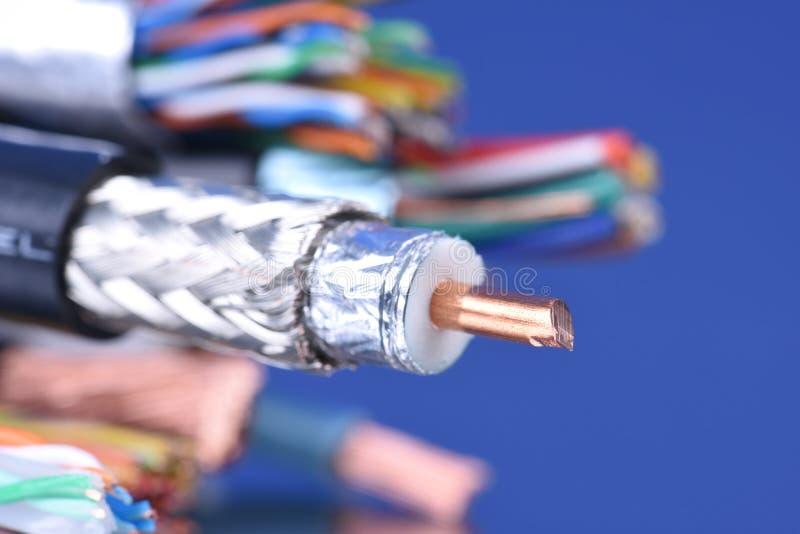 Primer del cable coaxial fotografía de archivo