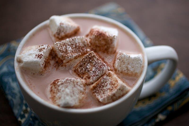 Primer del cacao caliente con las melcochas hechas en casa en la taza blanca foto de archivo