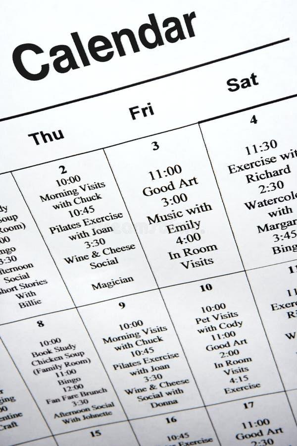 Primer del calendario de acontecimientos. fotos de archivo libres de regalías