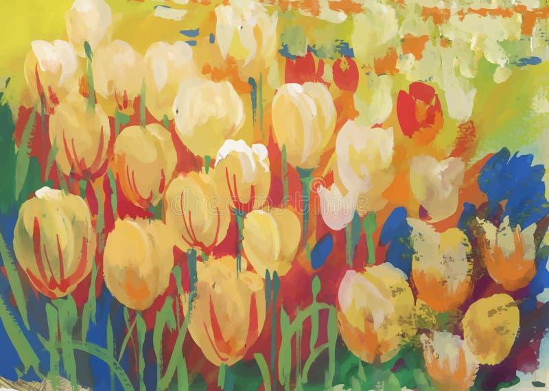 Primer del campo colorido de tulipanes stock de ilustración