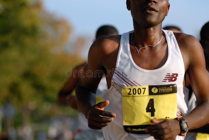 Primer del corredor de maratón de la élite imágenes de archivo libres de regalías
