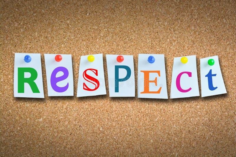 """Primer del  del """"respect†de la palabra en la cartelera del corcho con las notas pegajosas y los pernos coloreados foto de archivo"""