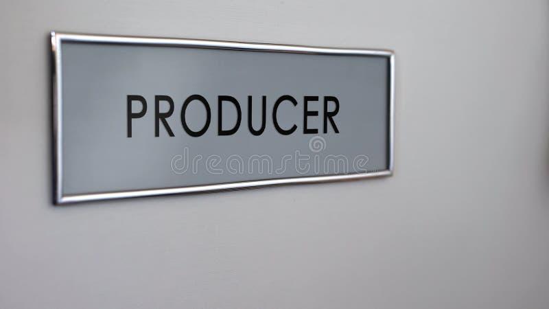 Primer del escritorio de la puerta de la oficina del productor, televisión y difusión de la radio, medio ilustración del vector