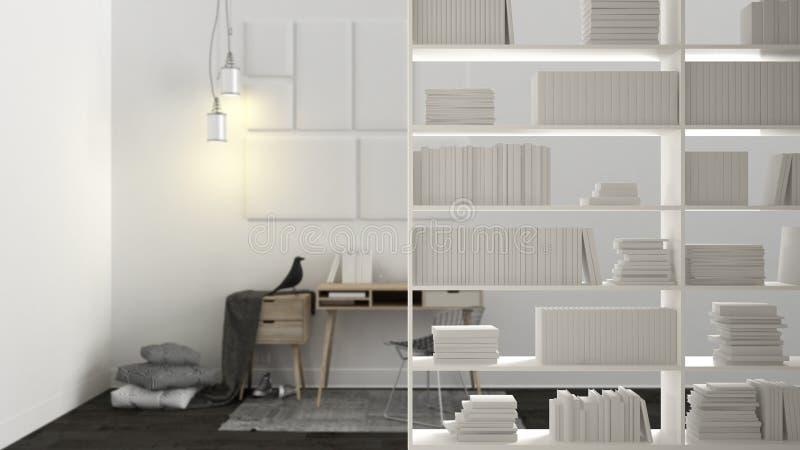 Primer del estante, primero plano que deja de lado, concepto de diseño interior, lugar de trabajo casero escandinavo en el fondo libre illustration