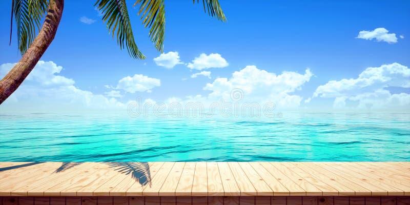 Primer del fondo de madera de la plataforma de la playa colorida, ejemplo de alta resolución de la representación de la vista del libre illustration
