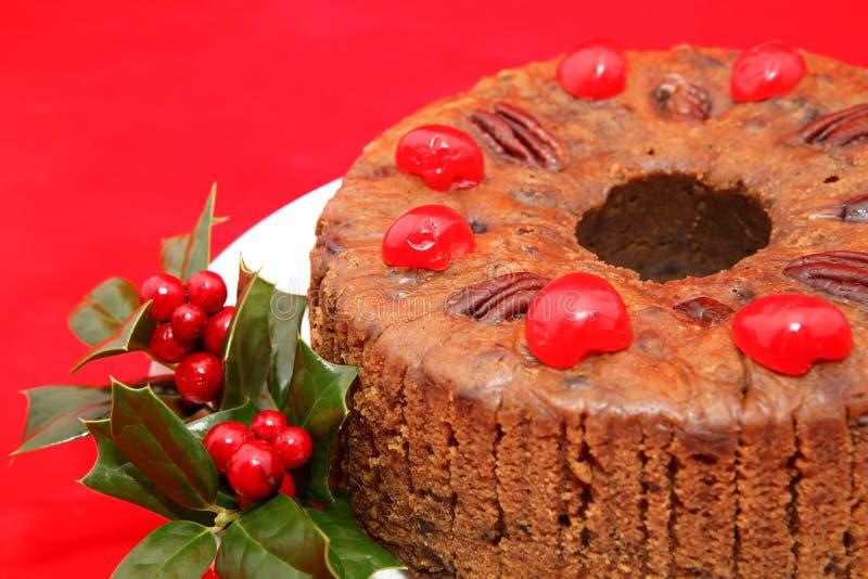 Primer del Fruitcake de la Navidad imágenes de archivo libres de regalías