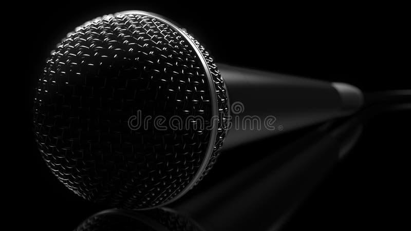 Primer del micrófono contra el fondo oscuro, representación 3D ilustración del vector