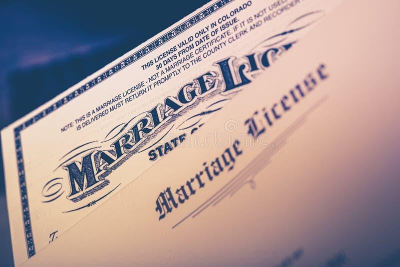 Primer del permiso de matrimonio imagen de archivo libre de regalías