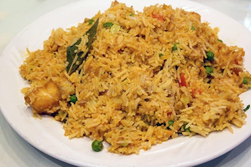 Primer del plato del arroz de Biryani del indio fotos de archivo libres de regalías