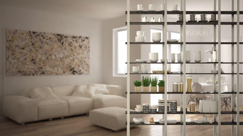 Primer del primero plano del sistema de la estantería de la sala de estar de la cocina, concepto de diseño interior, plan abierto foto de archivo libre de regalías