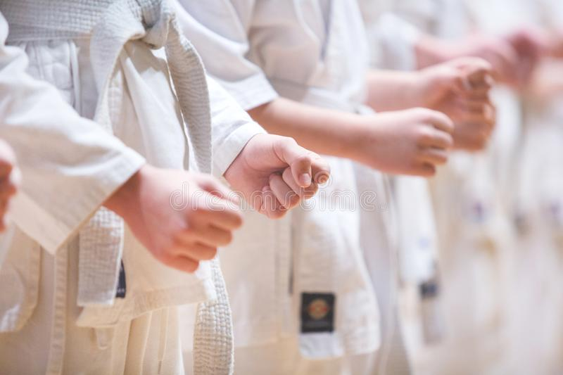 Primer del puño del niño concepto de la autodefensa Forma de vida sana Movimiento de Kyokushin imagen de archivo