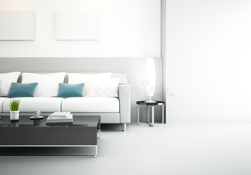 Primer del sofá en la sala de estar ilustración del vector