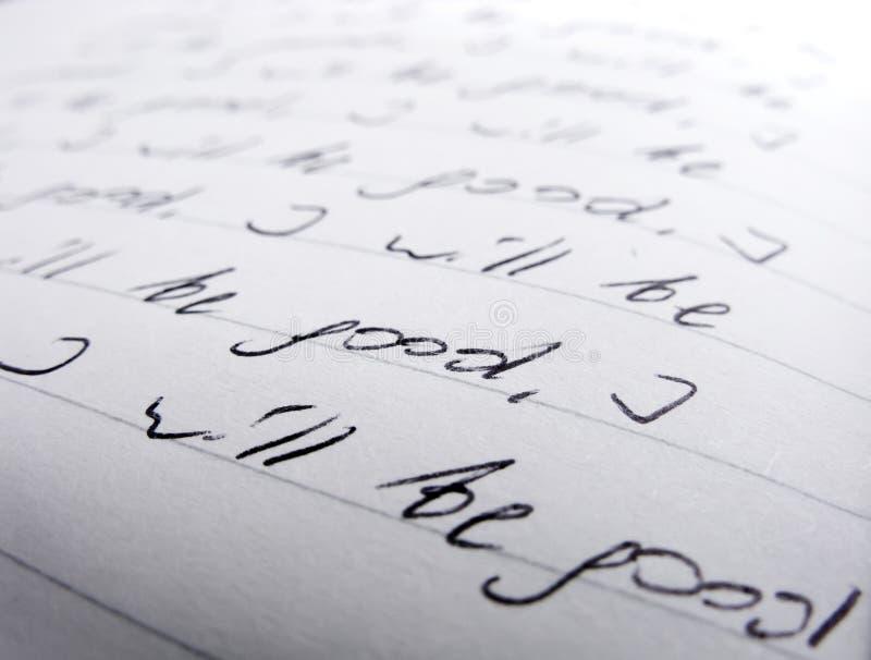 Primer del texto manuscrito foto de archivo libre de regalías