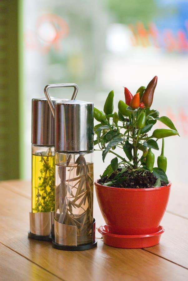 Primer del vinagre, del aceite de oliva y de un pote con pimienta de chile en una tabla en restaurante fotos de archivo libres de regalías