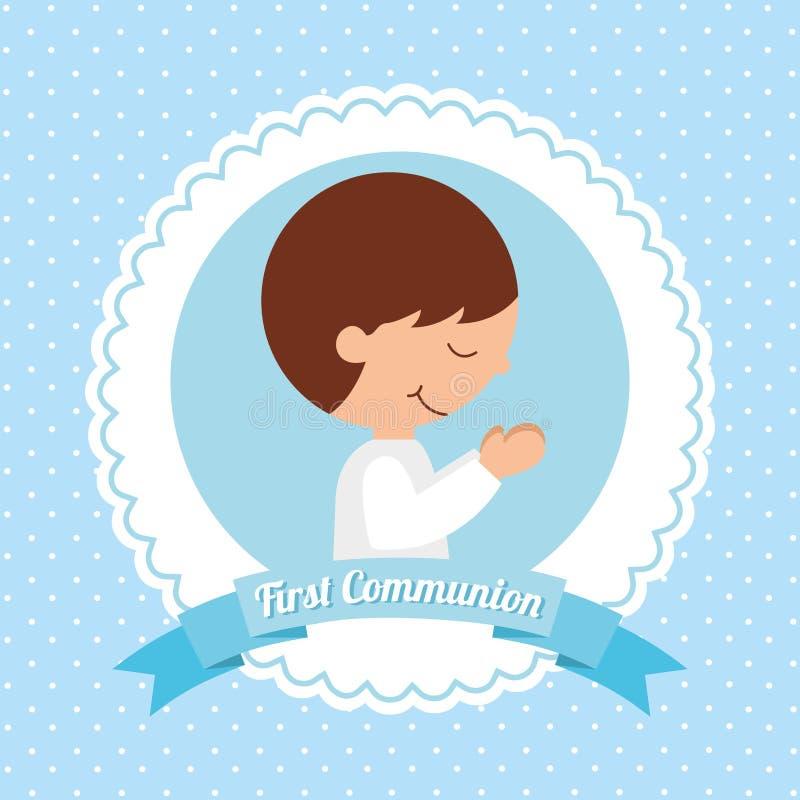 Primer diseño de tarjeta de la comunión ilustración del vector