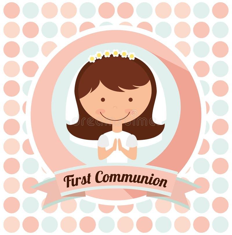 Primer diseño de tarjeta de la comunión stock de ilustración