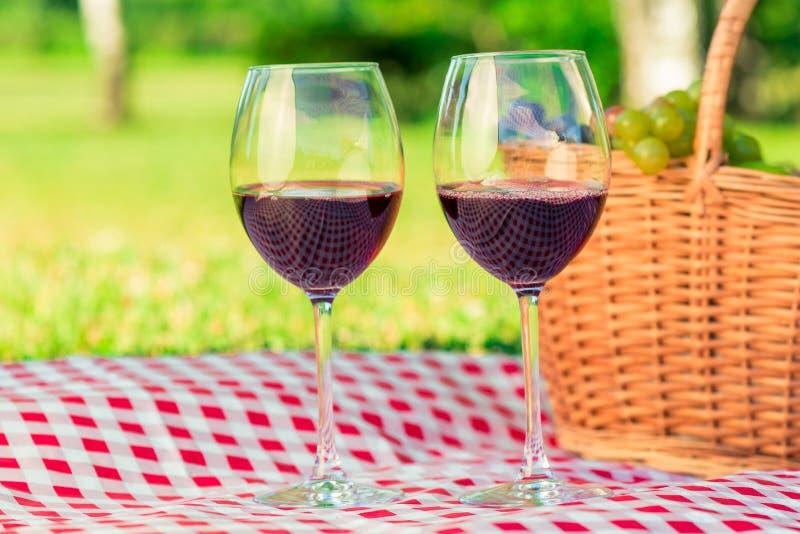 Primer dos vidrios de vino en una comida campestre, en un tablecl a cuadros fotos de archivo